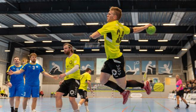 Christian Lykke Jensen, der med tre mål på stribe i slutningen af 1. halvleg bidrog til, at Elitesport Vendsyssel fik vendt kampbilledet efter en elendig start. Foto: Kristian Hedegaard.