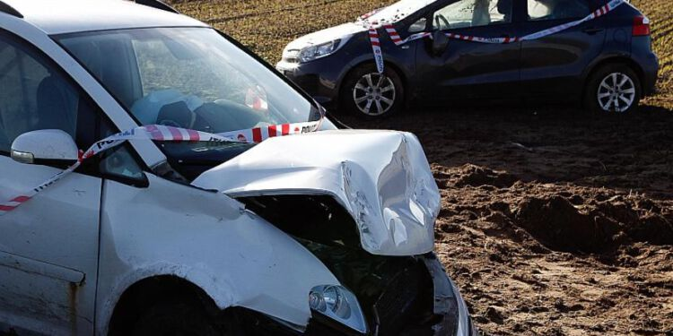 To biler kørte omkring middagstid galt vest for Hjørring. Foto: Per Frank Paulsen.