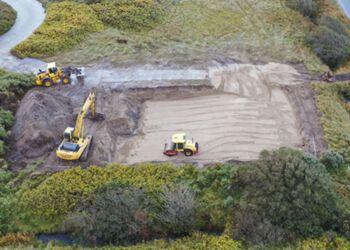 Udgravningen til Iceberg Seafoods nye kontorbygning er i fuld gang. Foto: Hirtshals Havn.