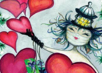 Som altid er der livsglæde og kærlighed i motivet hos billedkunstner Inger Mortensen.
